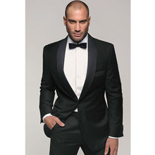 men wedding dress for groom tuxedo black slim fit custom made suit man shawl collar 2017