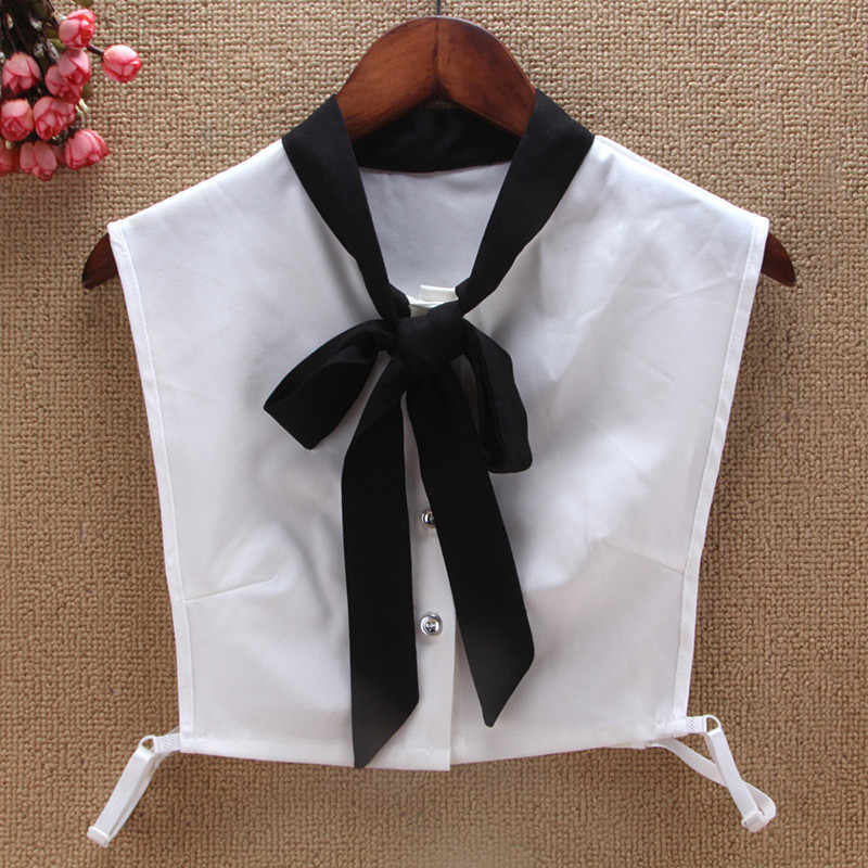 0690546404884c Black White Bowtie Faux col Fake Collar Women New Fashion Accessories For  Sweater faux collar Blouse
