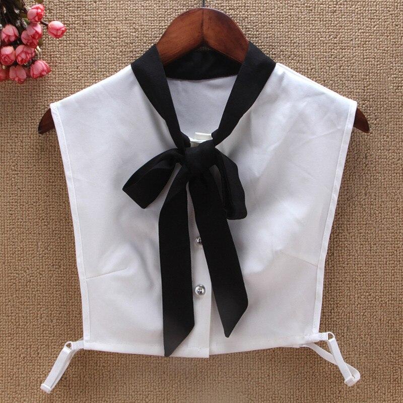 Black White Bowtie Faux Col Fake Collar Women New Collars Detachable For Sweater Faux Collar Blouse Half Shirt Kraagje Nep Dame