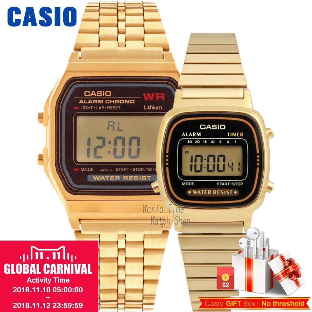 Casio retro alarm waterproof couple watch A168WA-1W A159WGEA-1D A159WA-N1D casio casio w 210 1d