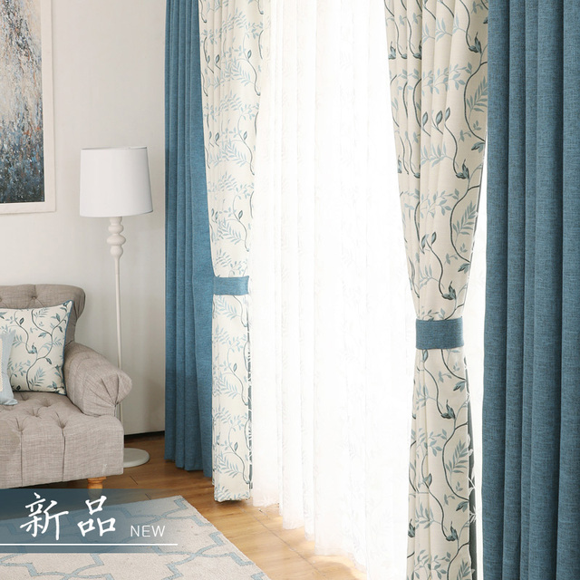 Thick Jacquard Window Curtains For Living Room Rustic Blue D Panel Bedroom White Darkening