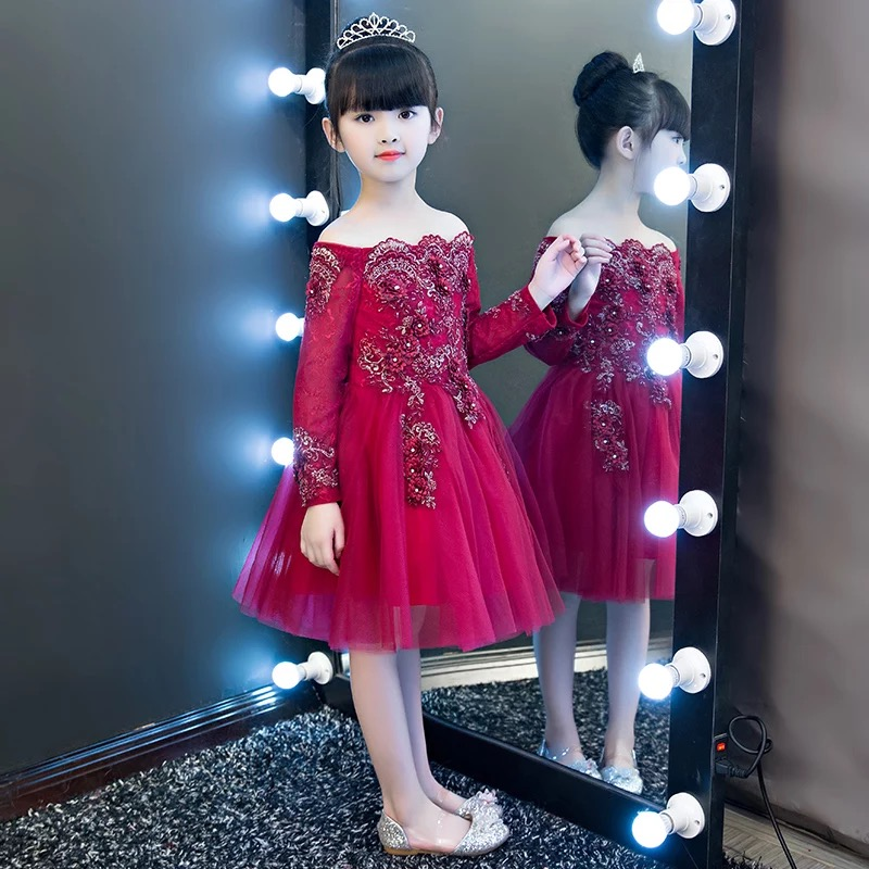 Luxury Children Girls Sweet Shoulderless Flowers Princess Lace Party Dress Kids Babies Birthday Wedding Wine-red Color Dress new high quality children girls red color shoulderless princess dress kids birthday wedding party mesh dress school player dress