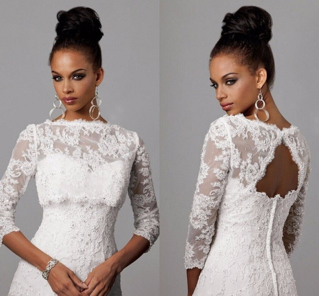 Hot Sale White Lace Embroidery Fashion Custom Made Knee Length Women   Cocktail     Dress   3/4 Sleeves Elegant Beads Working Party Gown