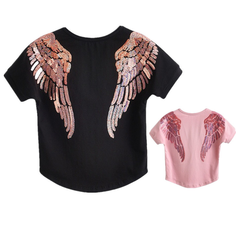 Summer Mommy And Me Clothes Angel Wings Sequins TShirt Daughter Mother Outfits Family T Shirt Big Little Sister Clothes