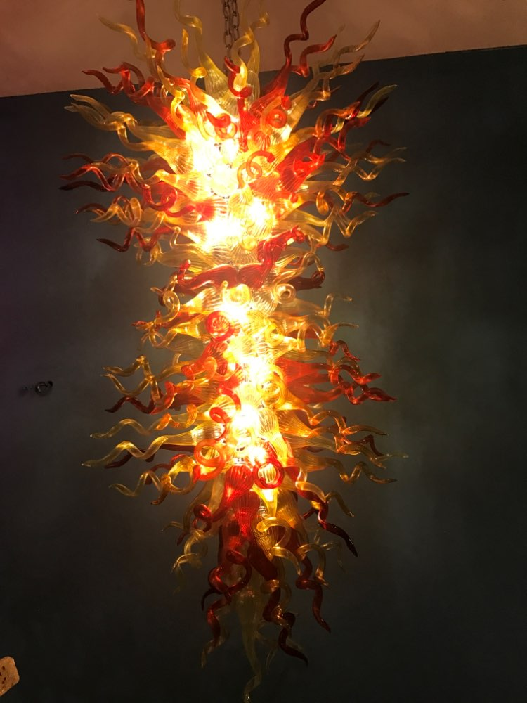 Chandeliers Honesty Artistic Amber Chihuly Chandelier Led Hand Blown Glass Chandelier Lighting Home Store Decoration