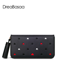 Women Wallets Genuine Leather Wallets Solid Cow Leather Long Purse  Coin Pocket Zipper Bag Free Shipping DreaBasaa 2016 Bran