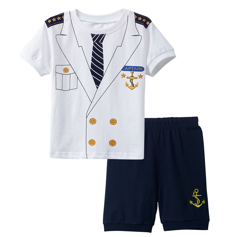 Navy White Captain 4 PC Outfit With Hat Boys Sailor Short Set
