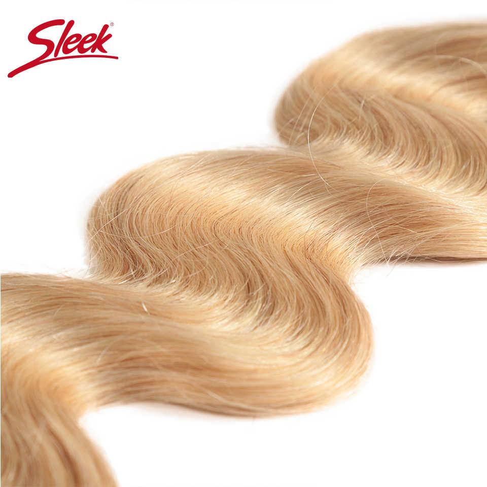 Paquetes de armadura de pelo brasileño Remy elegante 10-26 pulgadas extensión de cabello humano onda del cuerpo miel rubia # P27/ paquetes de cabello 16/613