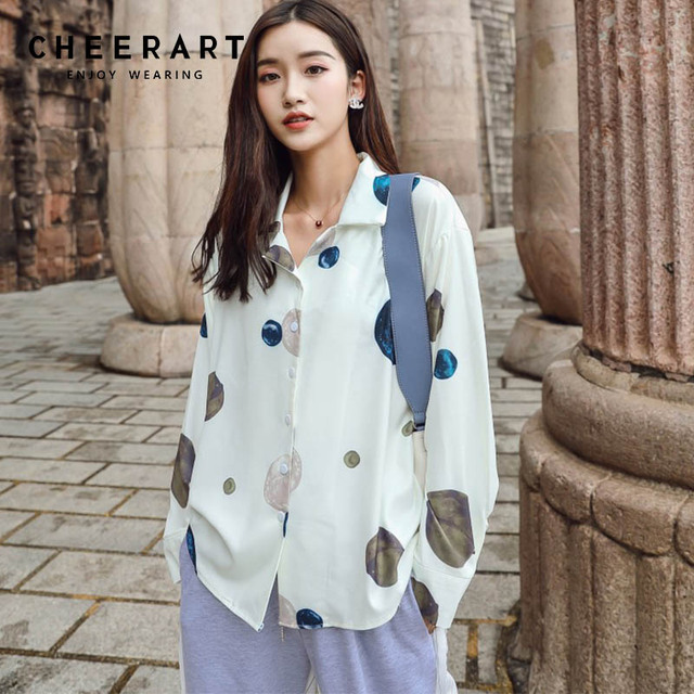 2afabd815418 Cheerart Star River Print Long Sleeve Shirt Women Loose White Blouse Femme  Designer Shirts Top 2018 Autumn Women Fashion