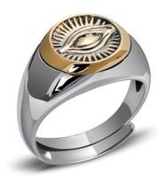 100% real silver mens ring evil eye rings gold ring men adjustable