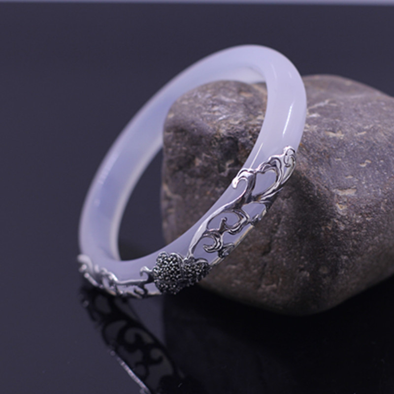925 sterling silver jewelry ladies bracelet luxury chalcedony bracelet