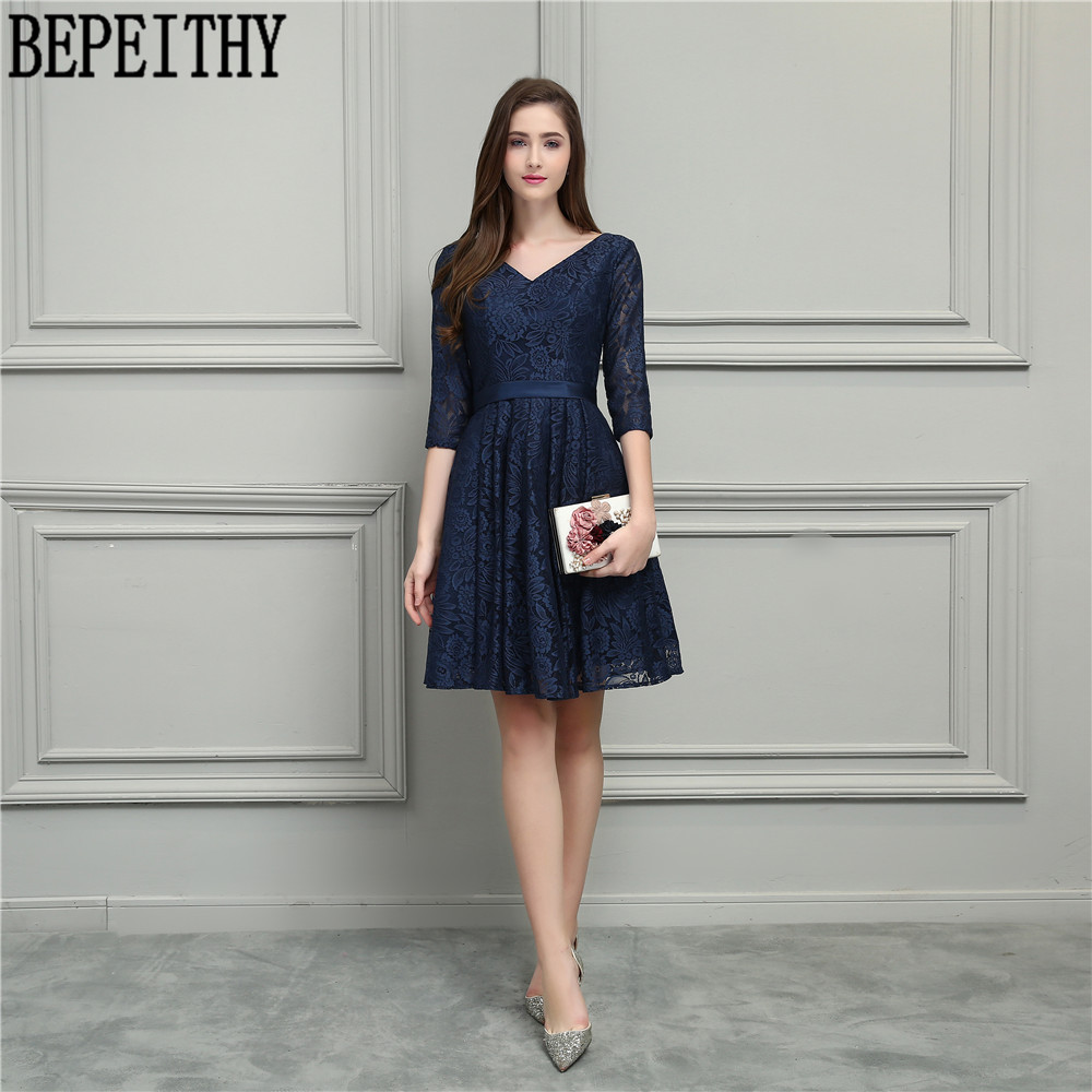 BEPEITHY New Arrival Vestido De Festa Longo V-Neck Navy Blue Lace Half Sleeve A-Line Tea-length Prom Dress Bridesmaid Dress 2018