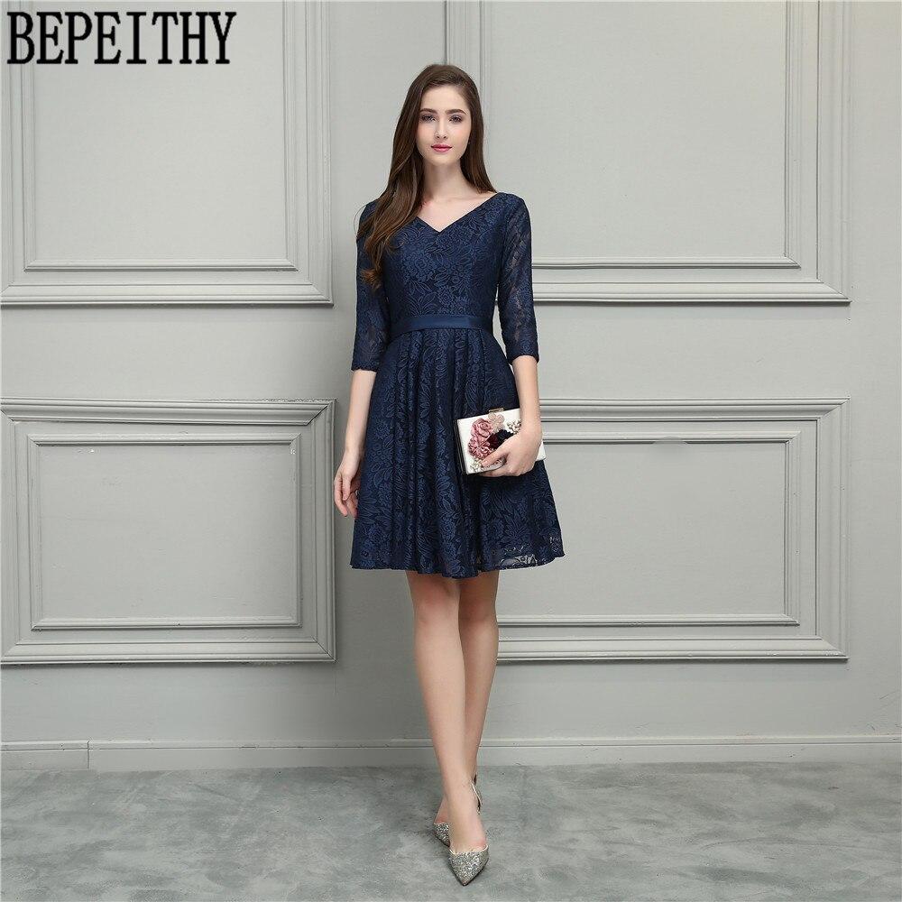 BEPEITHY nouveauté Vestido De Festa Longo col en v bleu marine dentelle demi manches a-ligne thé longueur robe De bal robe De demoiselle d'honneur 2019