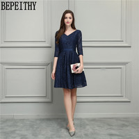 BEPEITHY New Arrival Vestido De Festa Longo V Neck Navy Blue Lace Half Sleeve A Line