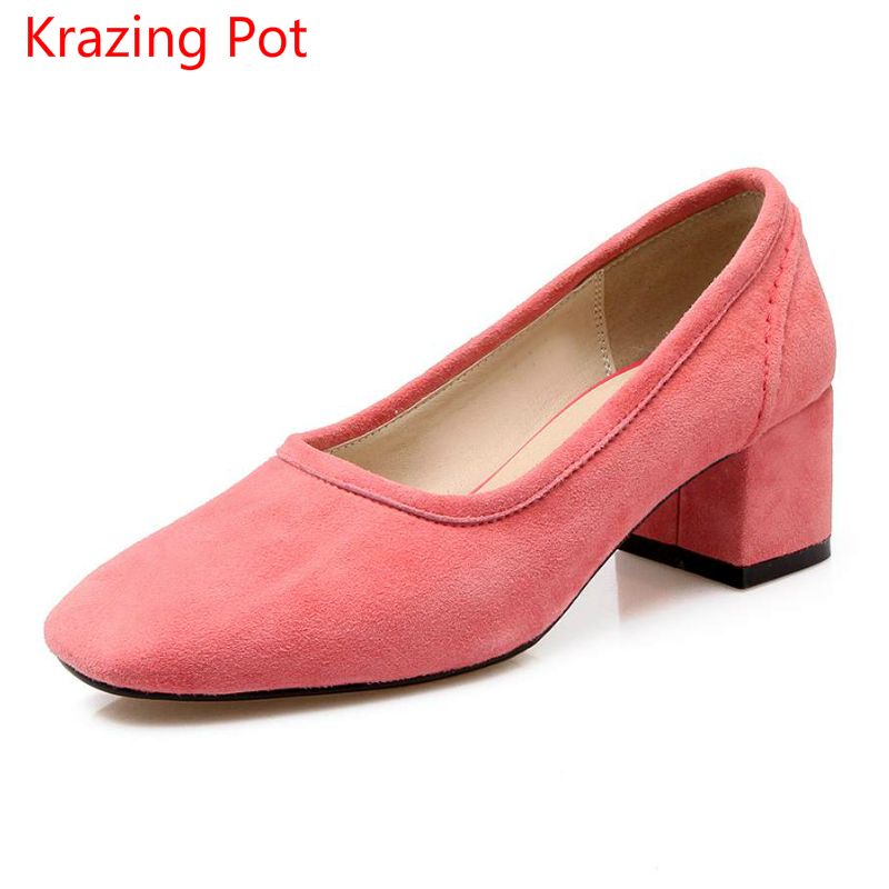 2017 Brand Spring Shoes Thick Med Heel Women Pumps Square Toe Candy Shallow Sheep Suede Office Lady Women Shoes High Quality 2-1 2017 new fashion brand spring shoes large size crystal pointed toe kid suede thick heel women pumps party sweet office lady shoe