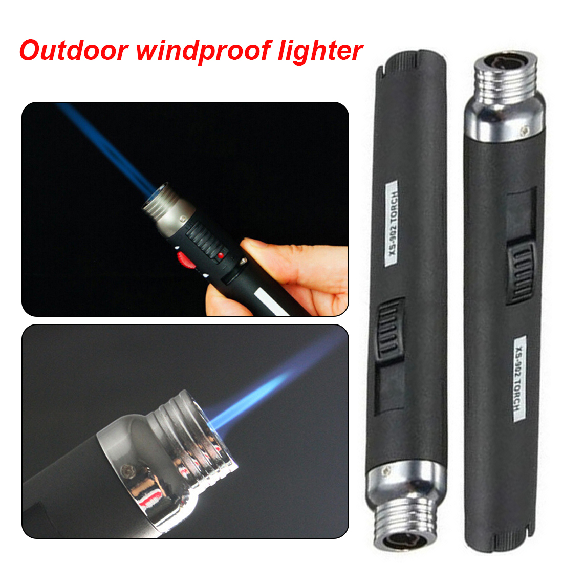 1pcs Portable Outdoor Jet Flame Butane Gas Refill Lighter We…