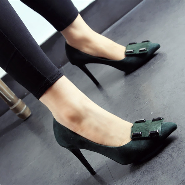 2016 spring summer new sexy suede square buckle thin high heels pointed pumps shallow mouth sandals women fashion designer shoes new spring summer elegant pumps fashion sexy slim thin metal heel shallow mouth pointed sweet bow suede high heeled shoes g395 2