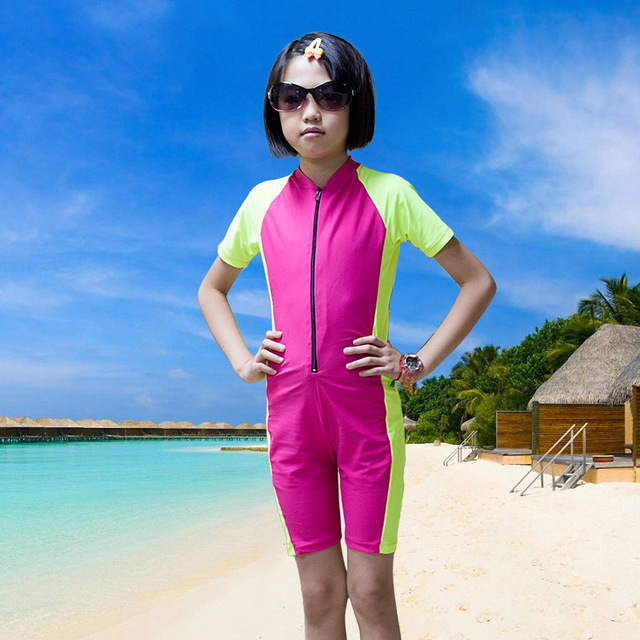 5722d57b06ce4 Kids Dive Skin Short Sleeve One-piece Swim Suit Boys and Girls Swimwear  Rash Guard Sun Protection