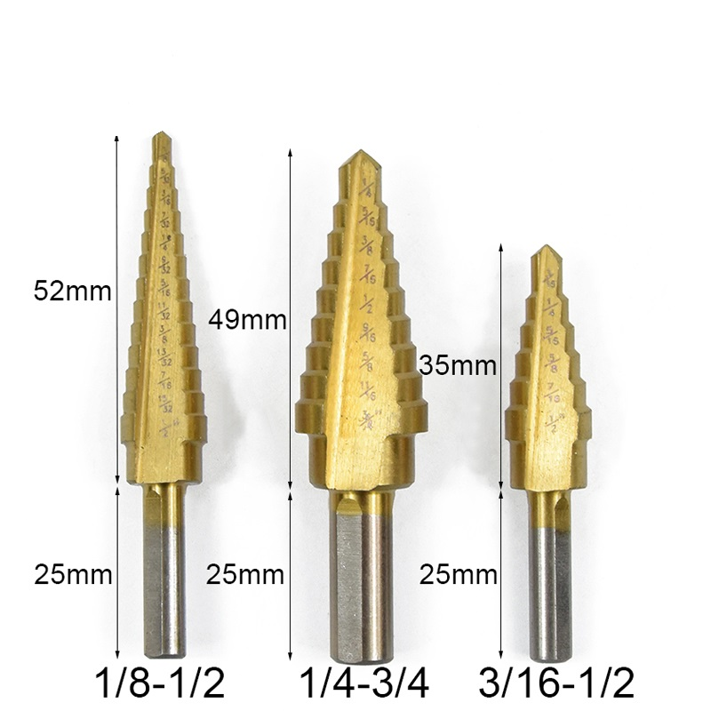 3pcs 3/16-1/2 1/4-3/4 1/8-1/2 HSS Titanium Coated Step Drill Bit Core Drill Bit for Wood/Metal 3pcs 3/16-1/2 1/4-3/4 1/8-1/2 HSS Titanium Coated Step Drill Bit Core Drill Bit for Wood/Metal