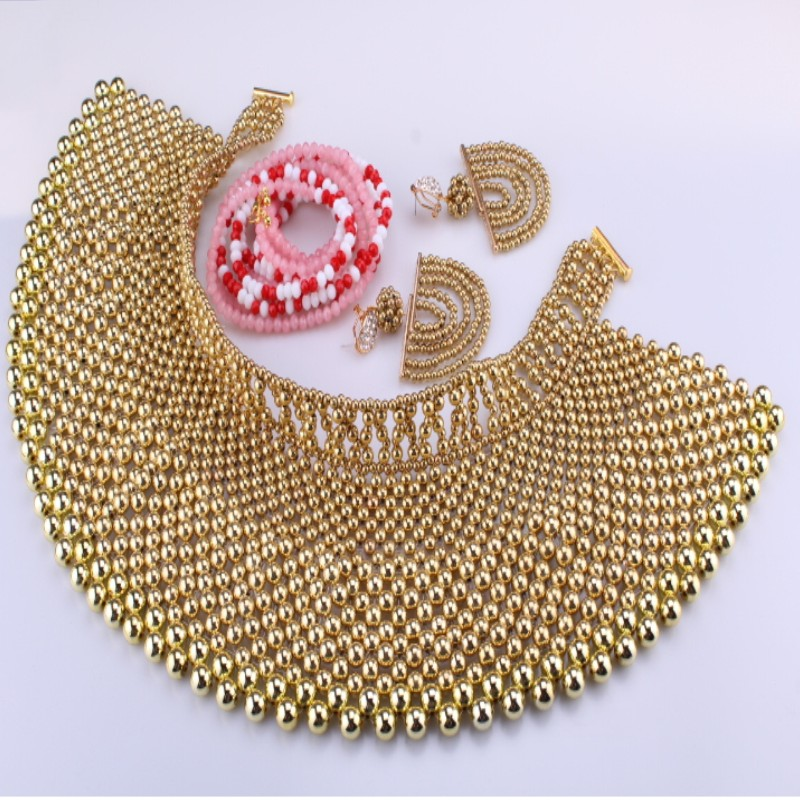 Luxury Jewelry Sets Gold Color Bridal Dubai Gold jewelry Sets For Women 100% Handmade 3 Pics Jewellery Sets Bridal Gift Set 2018 new purple jewelry bridal sets 3 layers bridal jewelry sets gold color big african costume jewellery set for brides women 2018