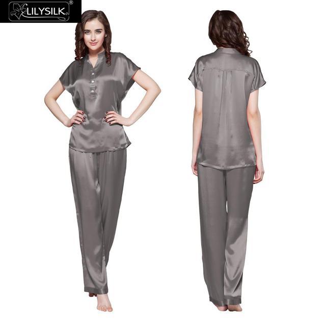 22 Momme Lilysilk Seda Chinesa Pura Pijamas Set Pijamas Cinza Escuro de Manga Curta Sono Cuidados Com A Pele Macia Respirável Roupa Mujer