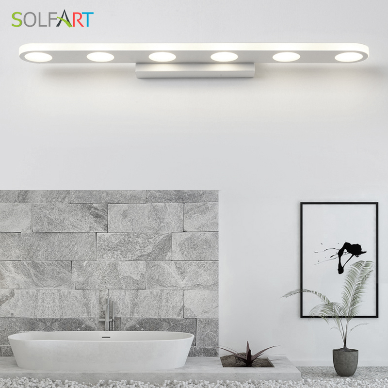 SOLFART wall lamp arandela mirror light modern led sconce wall lights acrylic bathroom mirror cabinet Mirror front lamp PS2231 luxury modern white acrylic 12w led bathroom wall lamp mirror front fashion wall light showroom washroom wall lamp