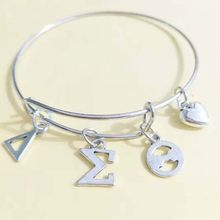 c55662d26 Topvekso DST Sorority Delta Sigma Theta Letter Charms Love Bangle Jewelry  Wire Bracelet Silver Tone As Gifts