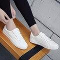 Женщины Белый Классический Повседневная Обувь Марка Лето Скейт-ПУ Обувь Кроссовки, Босоножки, Корзина Femme Chaussure Femme Плоские Туфли