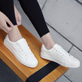 Women White Classic Casual Shoes Brand Summer Skate PU Shoes Trainers Lace-Up Basket Femme Chaussure Femme Flat Shoes