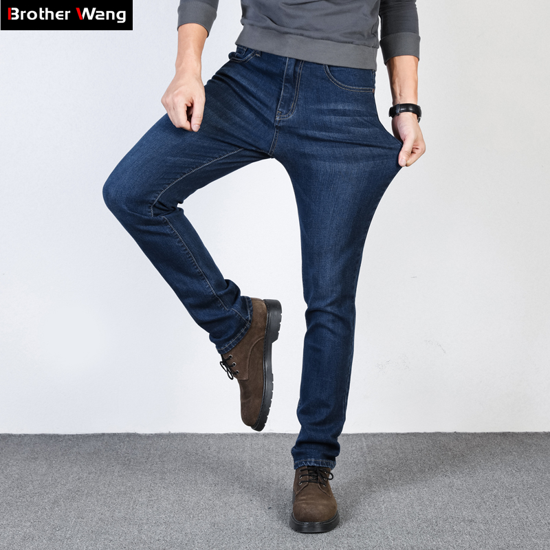 Brother Wang Brand jeans men 2017 autumn winter new Fashion business casual skinny jeans stretch pants male Plus size 28-46 sulee brand 2017 new fashion business men jeans cotton denim jeans casual straight washed pants stretch jeans plus size 28 40