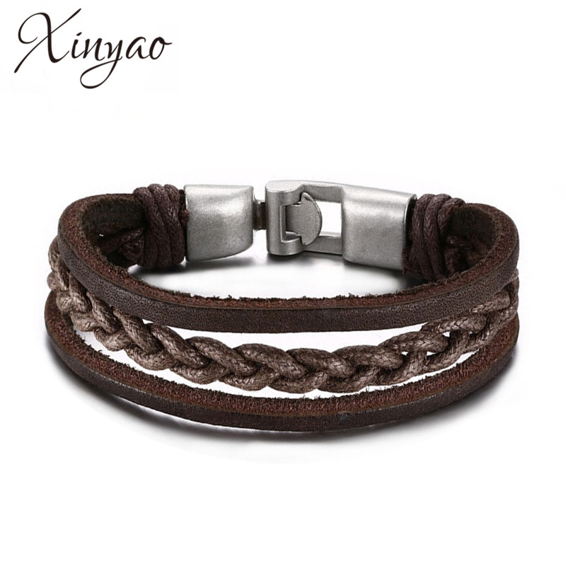 XINYAO 2017 New Fashion Brown Genuine Leather Bracelet for Men High Quality Alloy Buckle Clasps Bracelet Men Jewelry Pulseiras