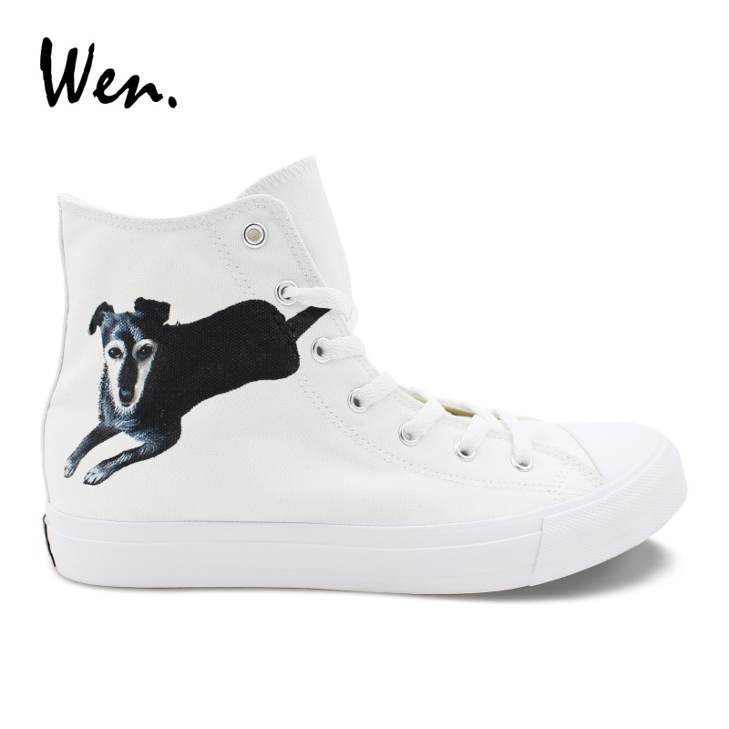 Wen Design Pet Dog Hand Painted Custom Shoes High Top White Canvas Shoes Mens Womens Tie Up Sneakers Espadrilles Flat Plimsolls цены
