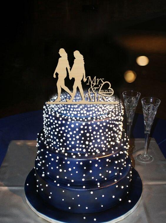 Marvelous Same Sex Wedding Decoration Acrylic Cake Topper Modern Mrs Mrs Custom  Special Date Gay Cake Topper