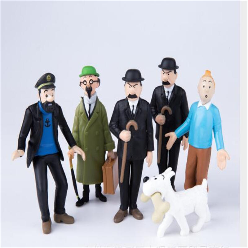 6pcs/set The Adventures of Tintin PVC Action Figures Collectible Model Toys 3cm-8cm