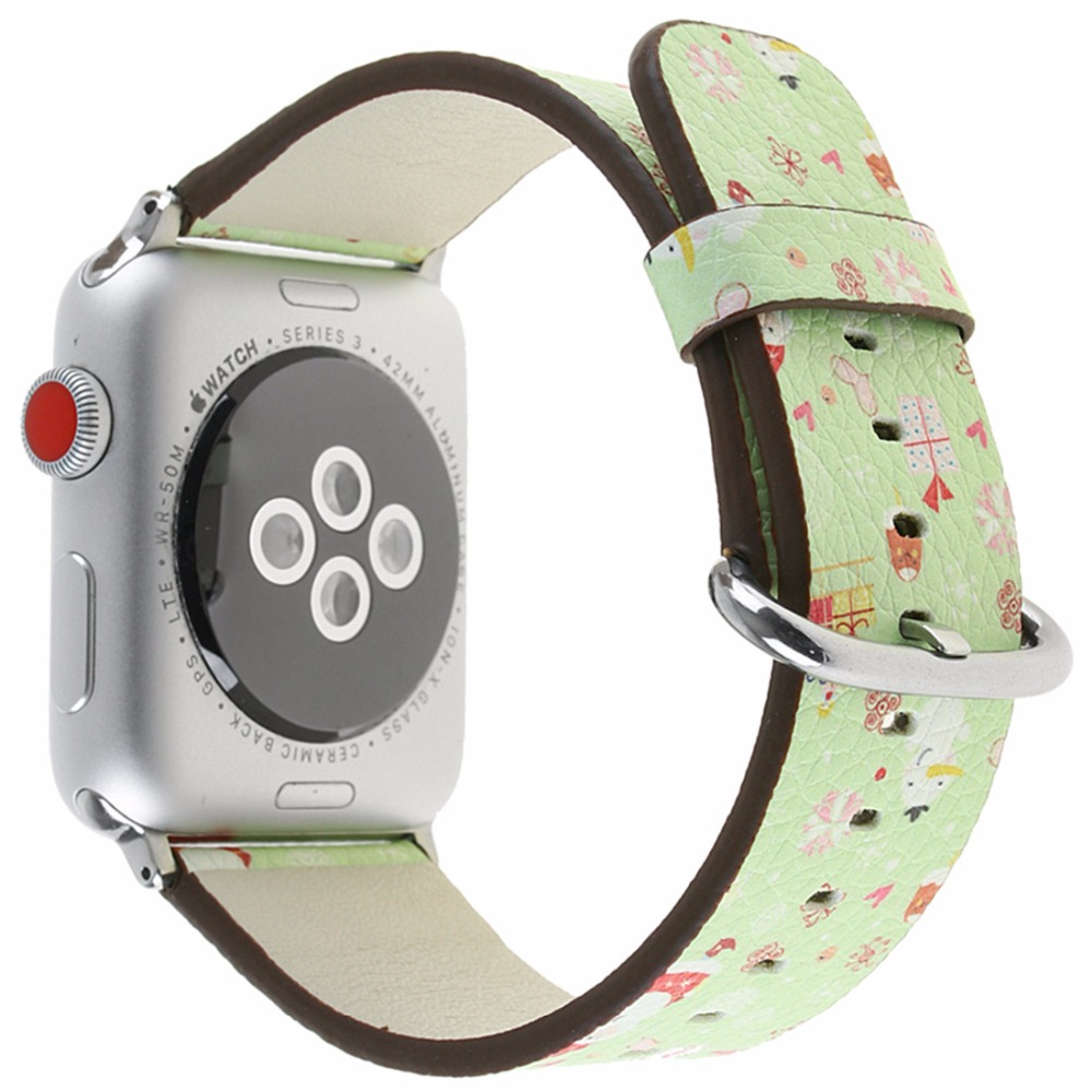 CRESTED Leather strap For apple watch band 42mm 38mm Iwatch series 3 2 1 Christmas wrist bands bracelet flower watchband belt crested woven nylon strap for apple watch band 42mm 38mm leather iwatch series 3 2 1 wrist bands bracelet watchband belt 2018
