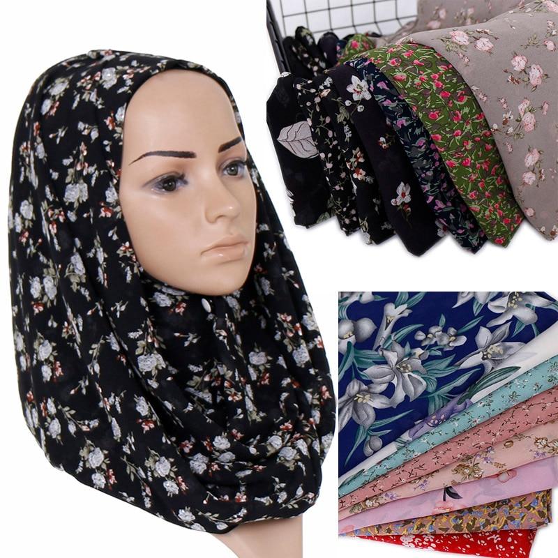 夏花柄シフォンヒジャーブのスカーフの女性イスラム教徒イスラムスカーフソフトショールヘッドスカーフ高品質ヘッドバンドラップ 180*70 センチメートル  グループ上の アパレル アクセサリー からの レディース スカーフ の中 1