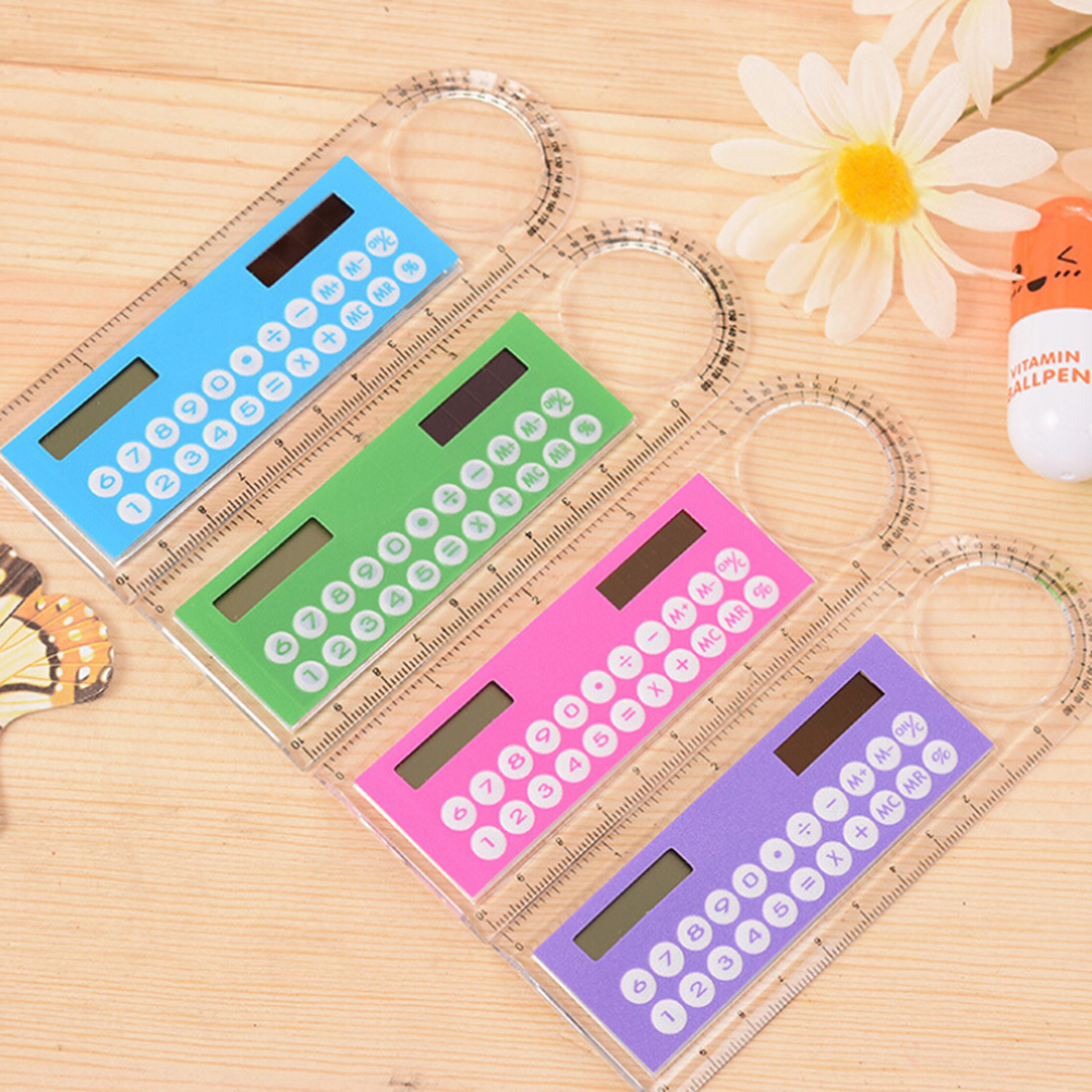 Cute Colorful Mini Portable Solar Energy Calculator Creative Multifunction Student Ruler Gift