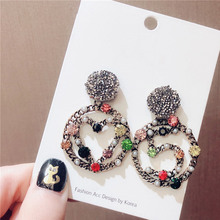 Fashion Retro 925 Pins Colorful Rhinestone Earrings Number 5 Heart Big Circle Women Jewelry oorbellen