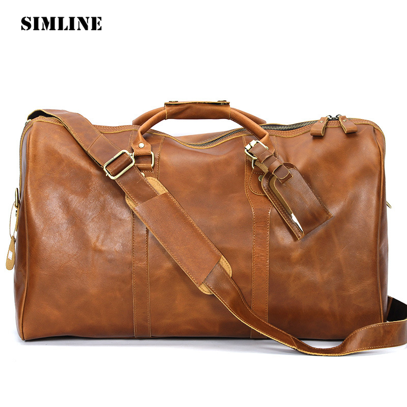 SIMLINE Brand Vintage Casual Genuine Cowhide Leather Large Capacity Men Mens Travel Handbag Shoulder Luggage Bag Bags For Man 2013 male commercial travel bag genuine leather men luggage travel bags shoulder large capacity cowhide business bag items tb17