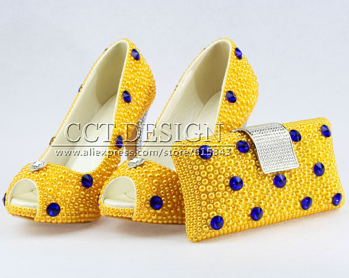 free shipping peep toe royal blue crystal and yellow pearls wedding bridal high heels shoes with