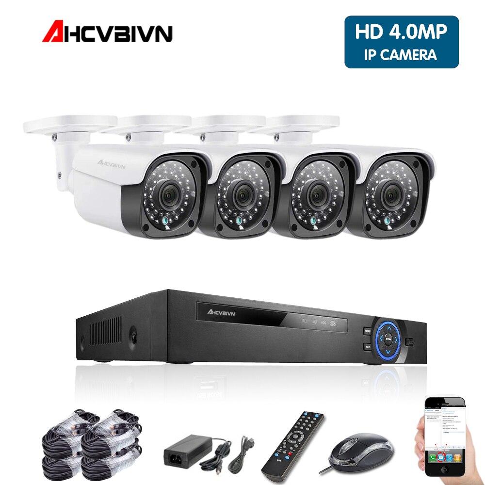 Kit de vigilancia CCTV de 4mp, sistema de cámaras de seguridad de 4mp, 4 canales DVR 1080P 4K, Kit de salida de vídeo CCTV, Vista Remota fácil en el teléfono ANRAN AHD CCTV sistema 2MP DVR Sistema de videovigilancia, cámara de seguridad exterior HDD impermeable visión nocturna P2P HDMI