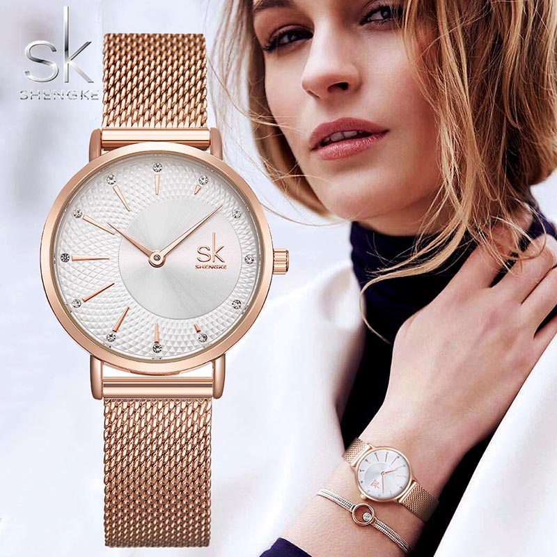 SHENGKE SK Women Watch Top Brand Luxury 2019 Rose Gold Women Bracelet Watch For Ladies Wrist Watch Montre Femme Relogio Feminino