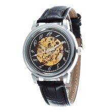 GOER марка Мода Скелет световой Спорта водонепроницаемый Мужской часы мужские кожаные наручные часы автоматика