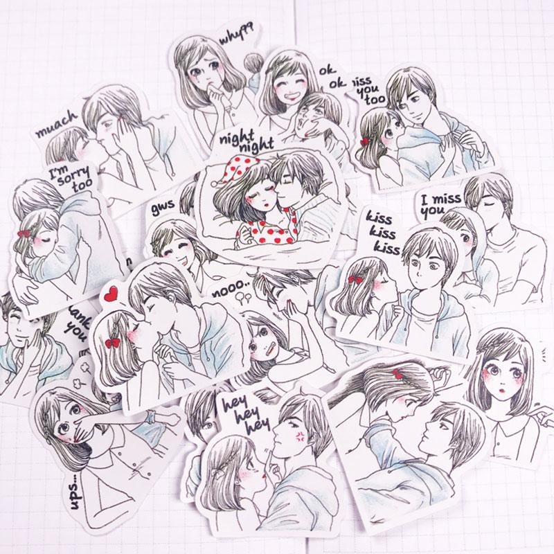 20/pack Cute Kawaii Couple Lovers  Scrapbooking Stickers DIY Craft Decoracion Journal Photo Albums Decoration Sticker