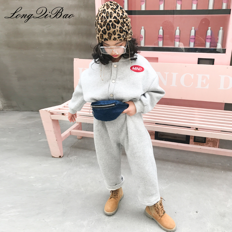 Girls Korean version of the simple plus velvet fashion to send pockets jumpsuit 2018 winter new big children's children's pants the fall of 2015 to launch new products design high quality loose big yards the cowboy cotton women s nine minutes of pants