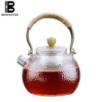 (Can Be Burned) 700ml Handmade Japanese Borosilicate Heat Resistant Glass Teapot with Copper Handgrip Tea Coffee Water Drinkware