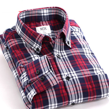 Free Shiping New Fashion Brand Mens Slim Shirts Spring Long Sleeve Plaid Shirt High Quality Cotton Male Shirts Plus Size MJ26