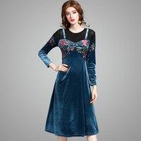 Europe 2017 Autumn Spring Women S New Fashion Slim Long Dress Ladies Embroidered Velvet Stitching Fake