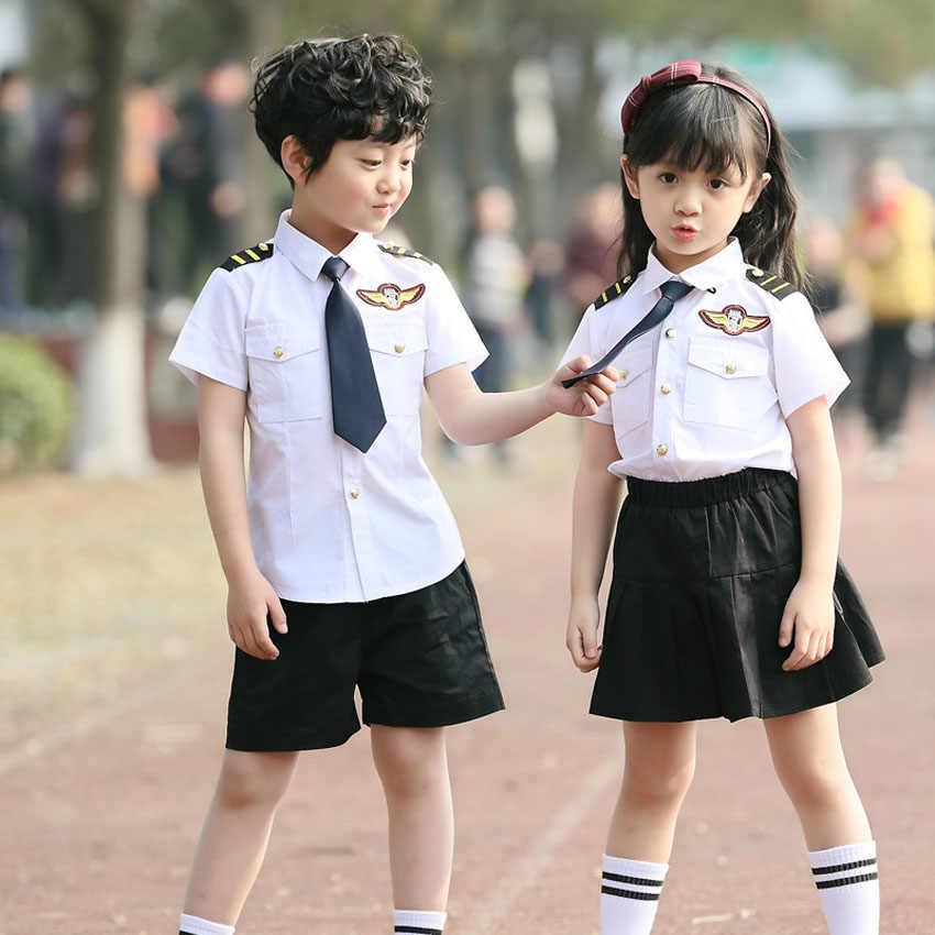 Adults Children Clothing Set Pilot Flight Attendant Cosplay Costumes Women  Men Kids Girls Skirt Boys Performance Halloween Wear