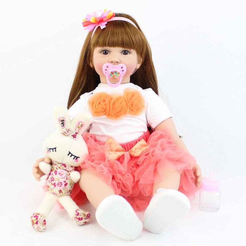 60cm 실리콘 reborn 아기 인형 장난감 어린이위한 절묘한 비닐 신생아 공주 유아 살아있는 소녀 boneca 아기 생일 선물-에서인형부터 완구 & 취미 의  그룹 1
